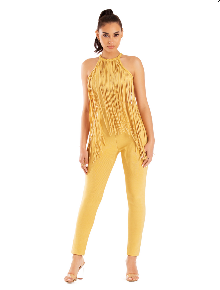 'Katie' Golden Yellow Embellished Stud Fringe Detail Bandage Jumpsuit - Shop Secret Showroom