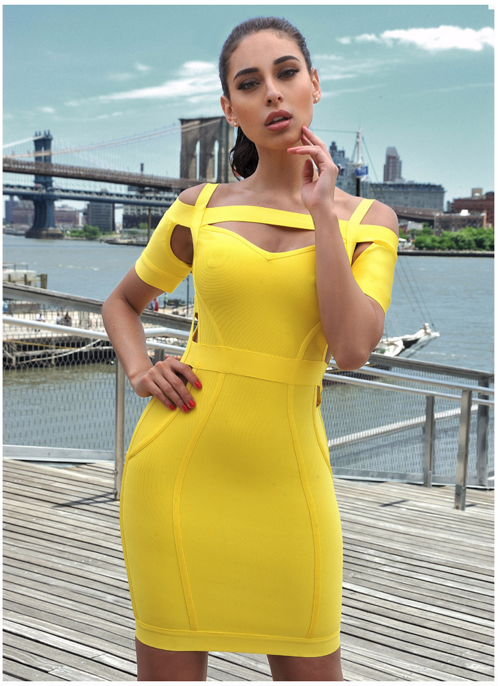 'Queenie' Cut Out Yellow Bandage Dress