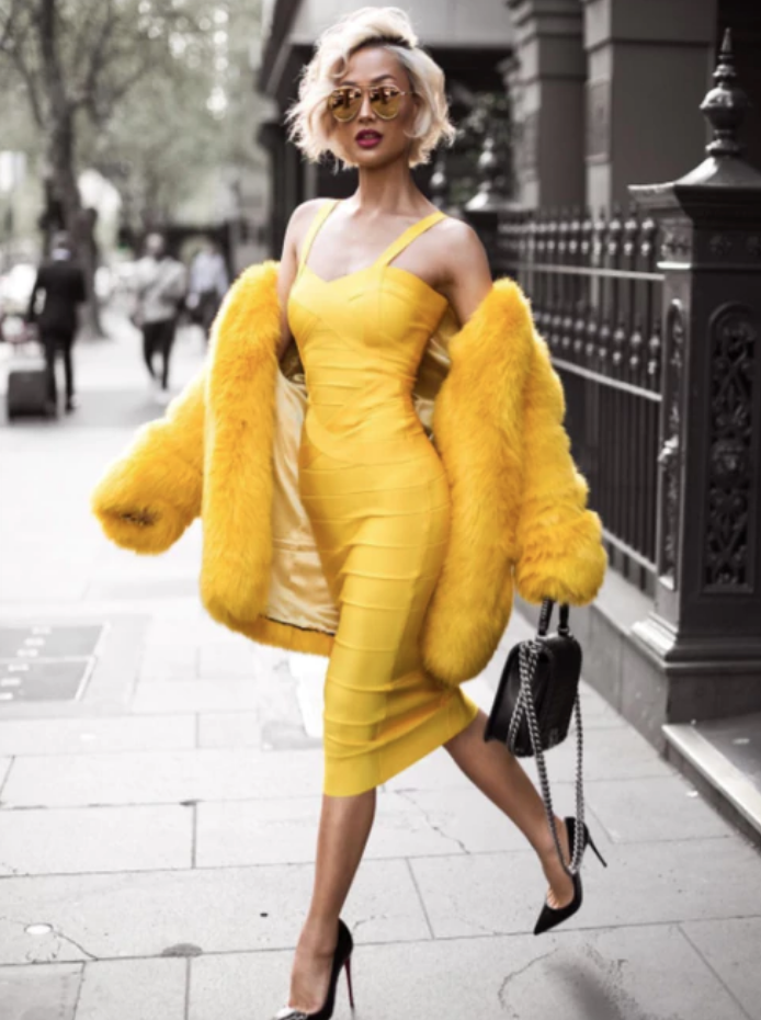 'Jordan' Midi Yellow Bandage Dress - Shop Secret Showroom