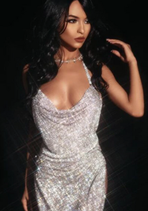 'Megan' Gold/Silver High Slit Long Diamond Dress