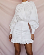 'Everlasting Love' White Ruffle Mini Dress