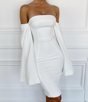 'Eleanor' White Strapless Slit Sleeve Bodycon Dress