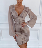 'Vanity' Taupe Bustier Satin Dress