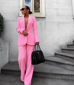 'Carissa' Soft Pink Bodycon Two Piece Suit