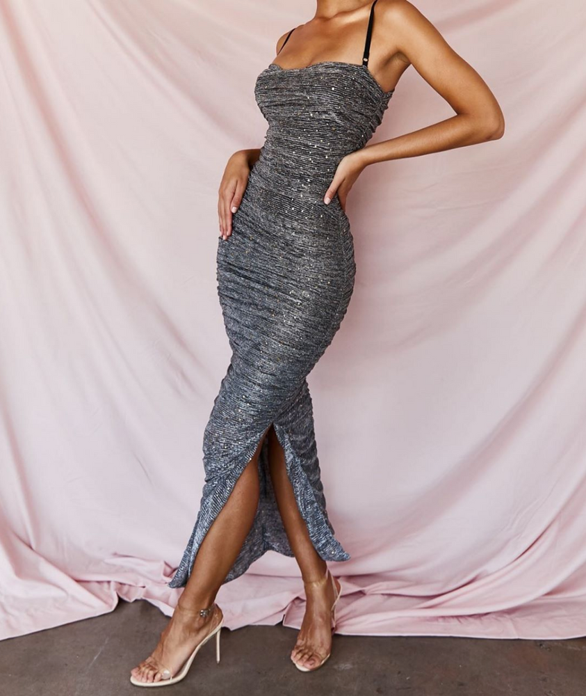 'Florinda' Dark Gray Metallic Sparkling Two Piece Maxi Dress