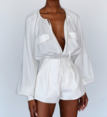 'Putri' White Blouse Bodycon Playsuit