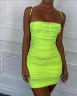 'Bastina' Neon Green Ruched Mesh Mini Dress