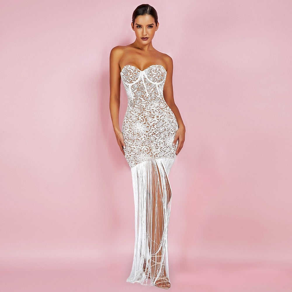 'When I See U' White Lace Long Fringed Strapless Dress