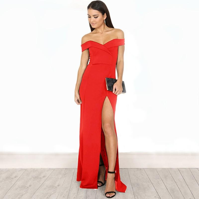 'Lennox' Red Bardot Bandage Gown - Shop Secret Showroom