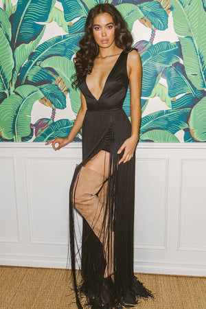 'Alexina' Black Satin Fringed Maxi Dress - LIMITED EDITION - Shop Secret Showroom