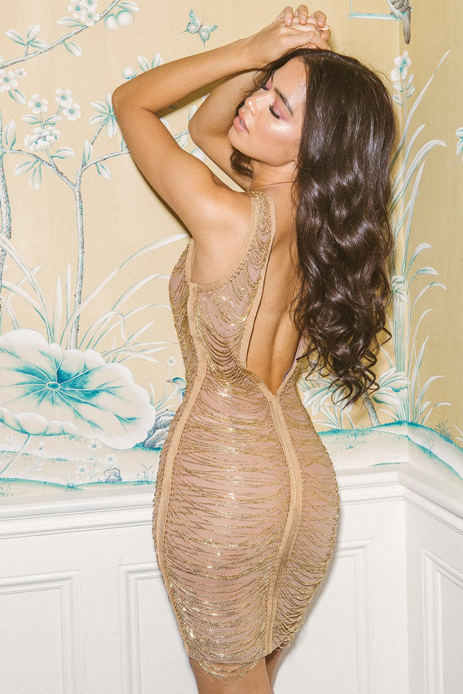 'Jordyn' Gold Chain Bandage Dress - LIMITED EDITION - Shop Secret Showroom