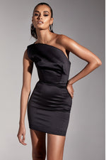 'Adele' Black Duchess Satin One Shouldered Mini Dress - Shop Secret Showroom