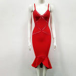 'Marlene' Red Ruffle Bandage Dress