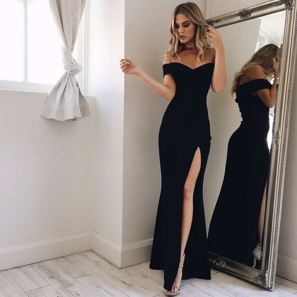 'Lennox' Black Bardot Bandage Gown - Shop Secret Showroom