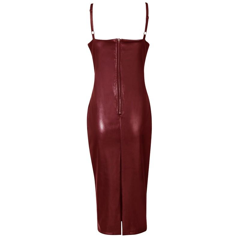 'Monica' Wine Leatherette Dress - Shop Secret Showroom