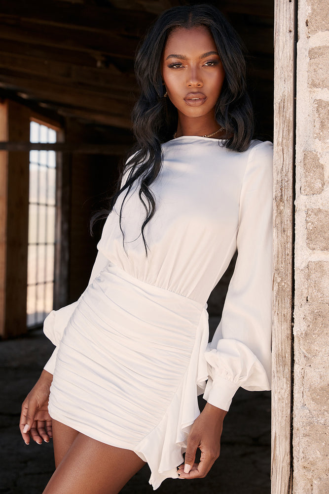 'Joie' White Backless Wrinkled Mini Dress
