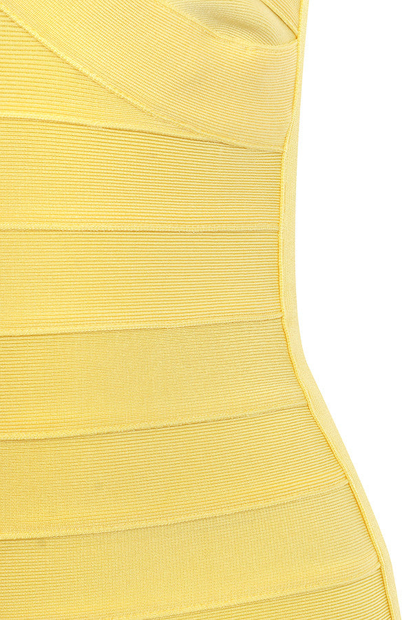 'Abbey' Lemon Strapless Bandage Dress