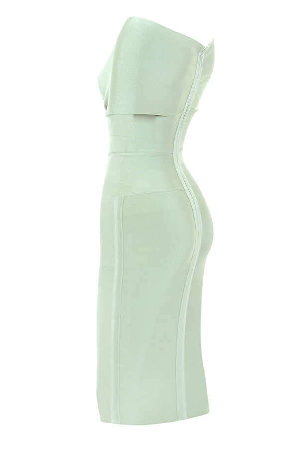 'Carlota' Pistachio Off Shoulder Bandage Dress