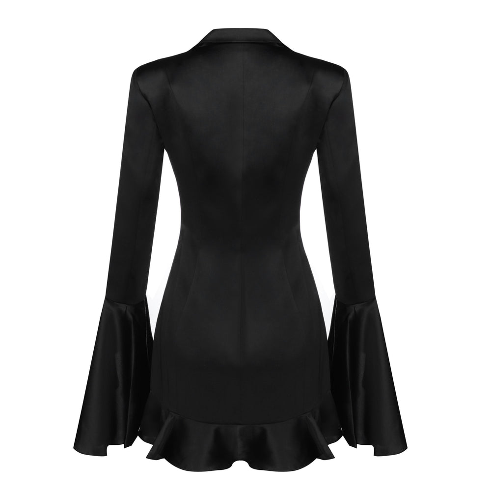 'Valerie' Black Mini Frill Blazer Dress