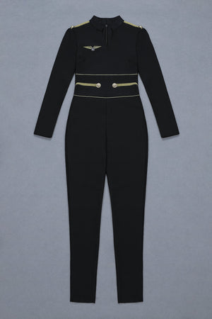 'Kalani' Air Force Uniform Black Bandage Jumpsuit - Shop Secret Showroom