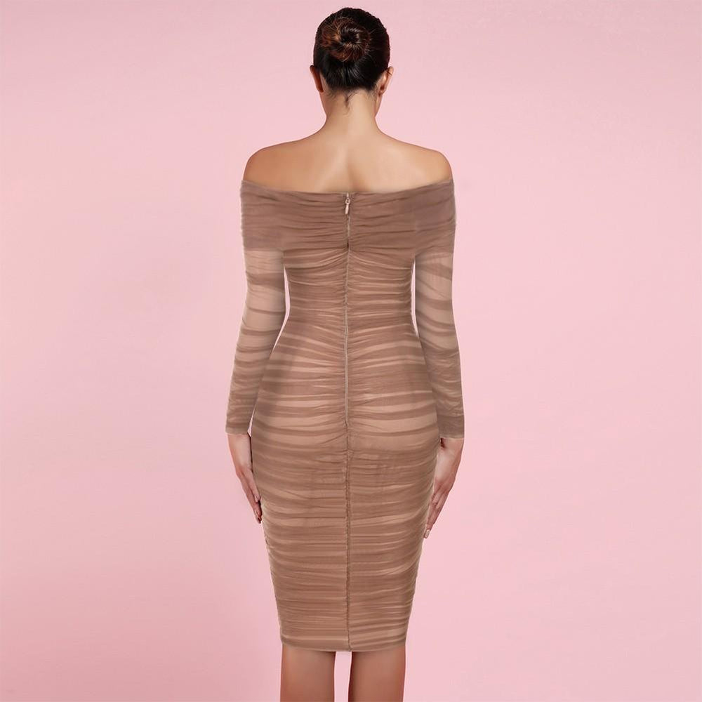 'Freya' Chestnut Tulle Off Shoulder Midi Dress - Shop Secret Showroom