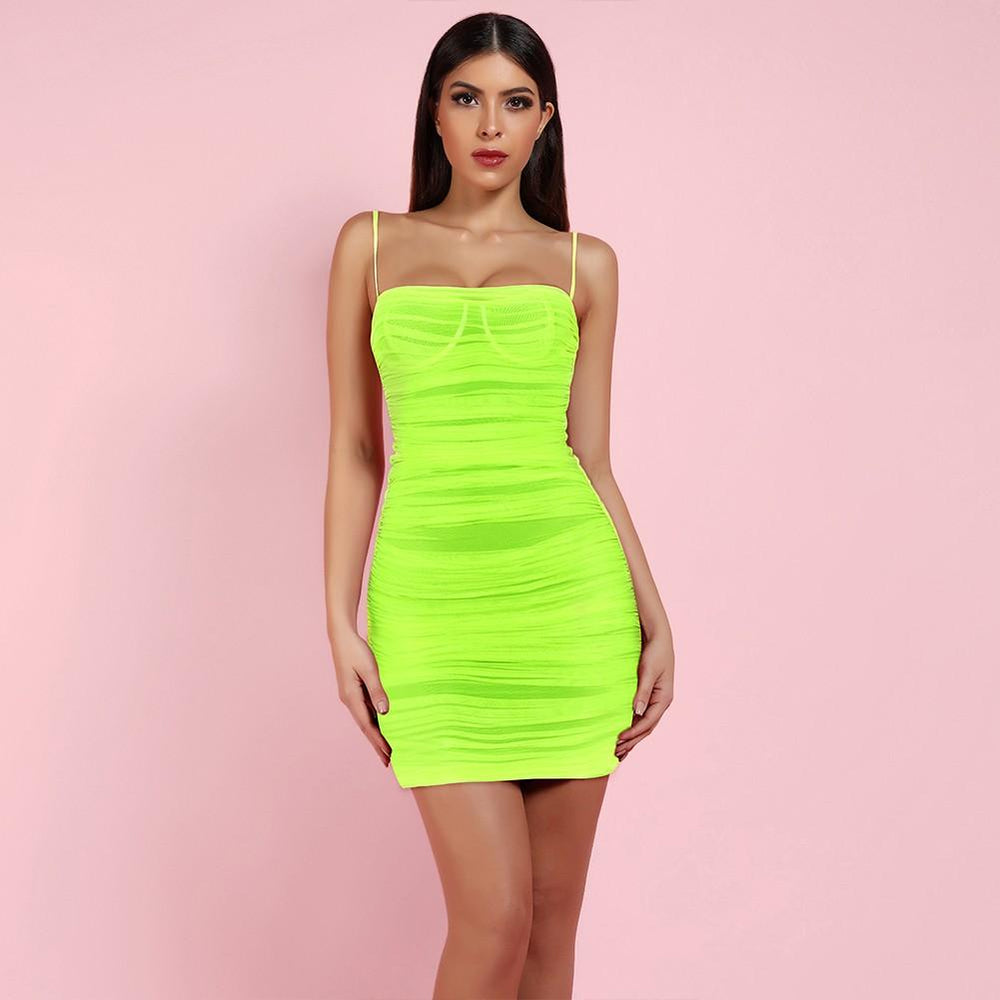 'Bastina' Neon Green Ruched Mesh Mini Dress - Shop Secret Showroom