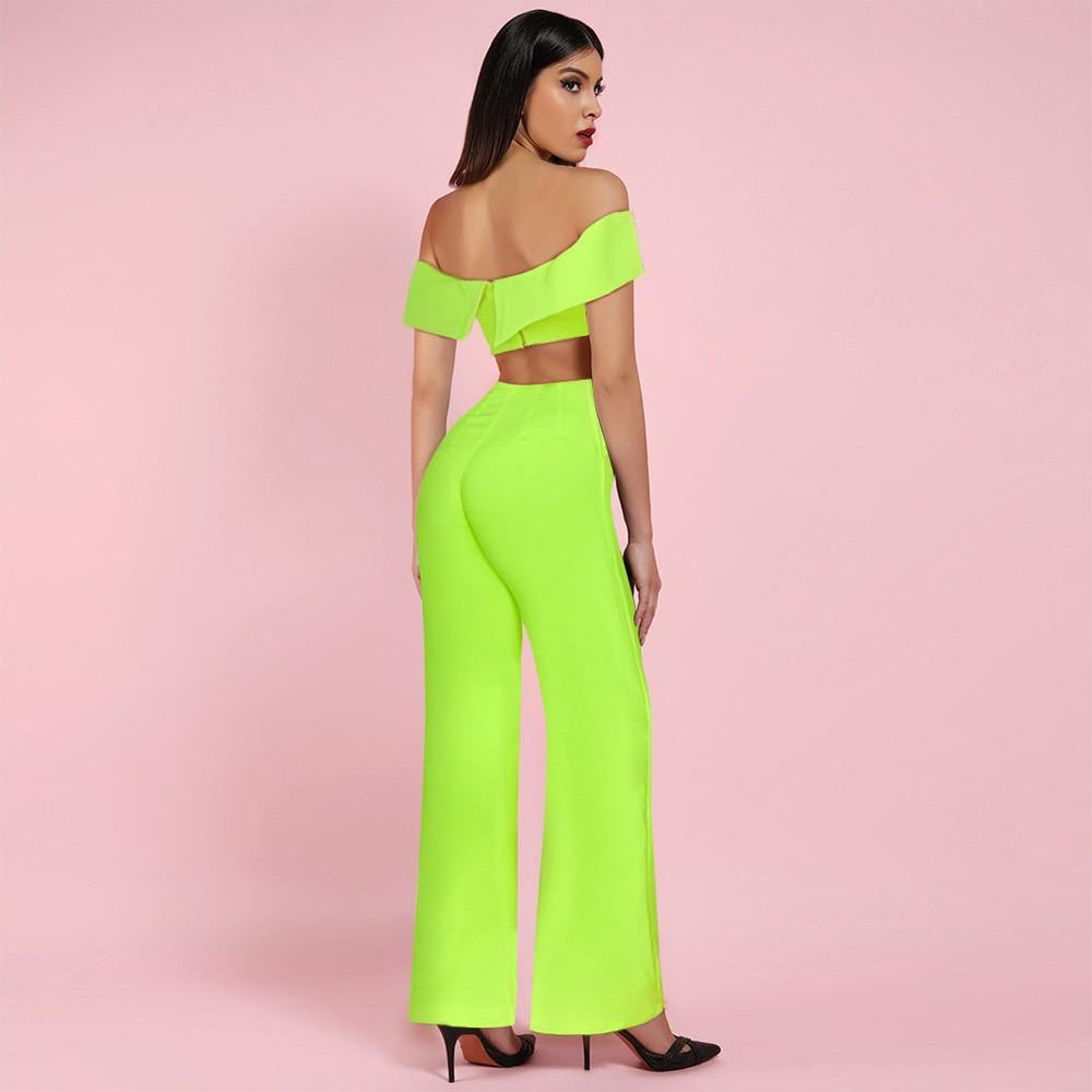 'Complicated' Neon Green Top + Pants Bodycon Set - Shop Secret Showroom