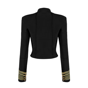 'Velena' High Neck Gold Details Crop Jacket