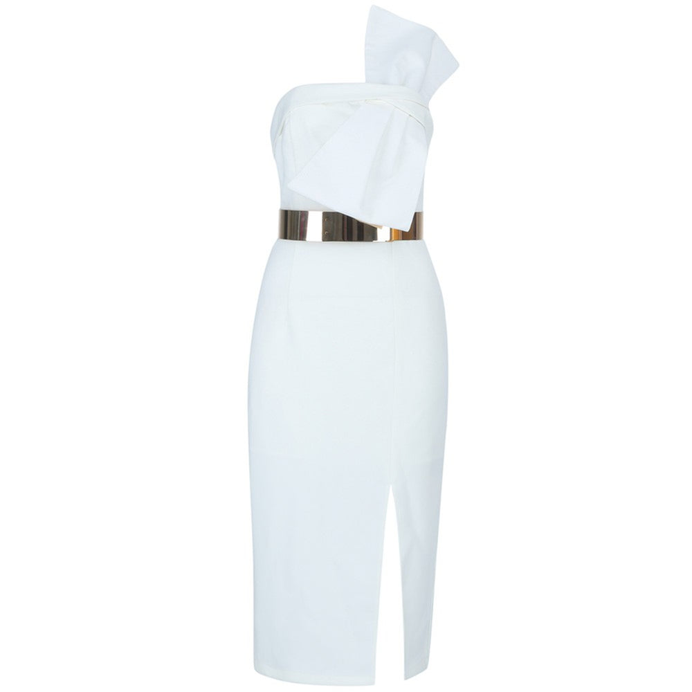 'Petal' White Midi Bodycon Dress with Gold Belt