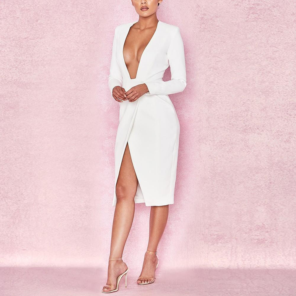 'Asalyn' White Extreme Plunge Bodycon Dress - Shop Secret Showroom
