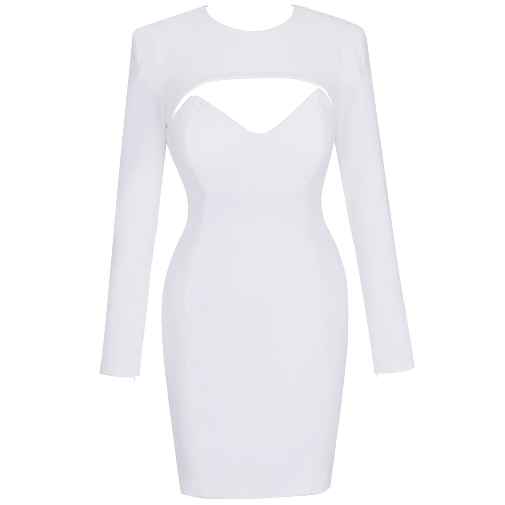 'Belinda' White Mini Bodycon Dress - Shop Secret Showroom