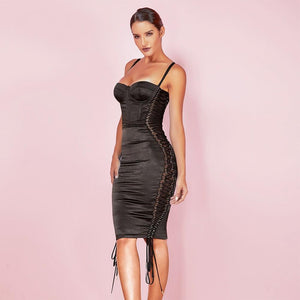 'Olly' Black Lace Up Bodycon Dress