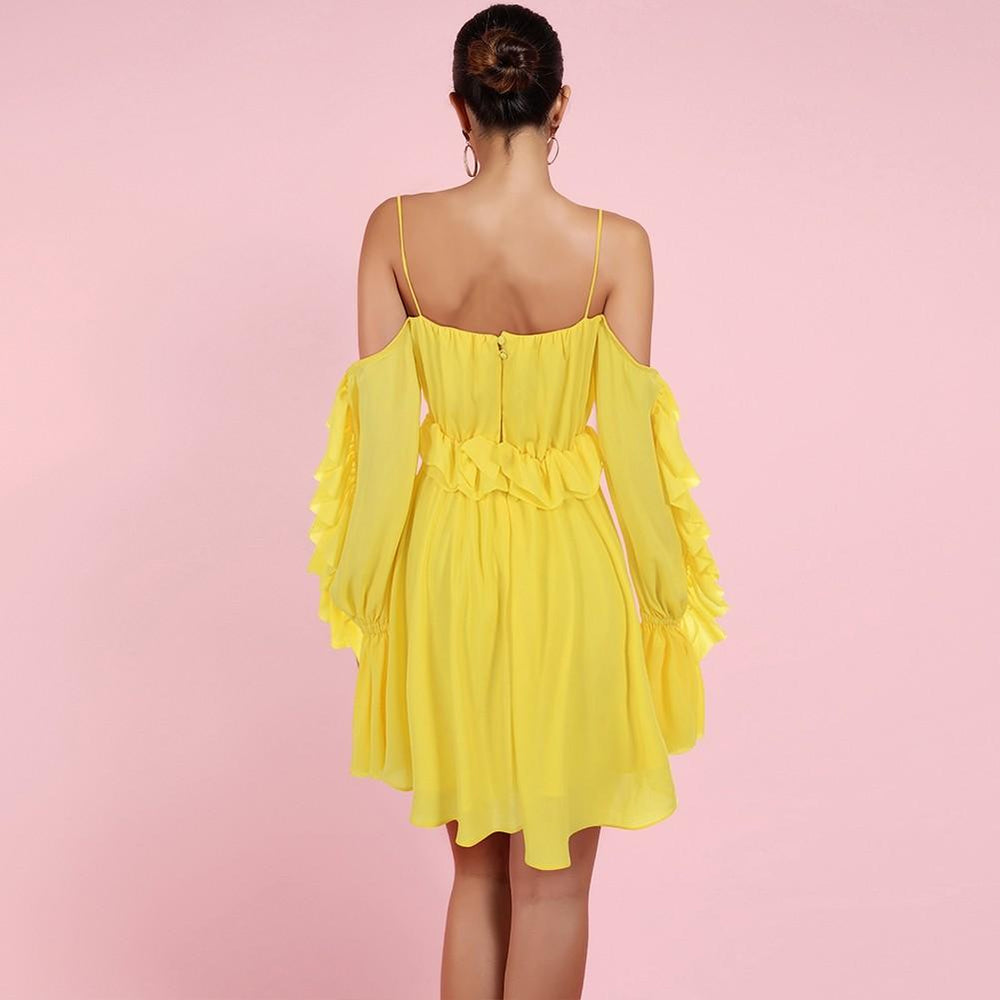 'Benni' Yellow Off Shoulder Ruffled Mini Dress - Shop Secret Showroom