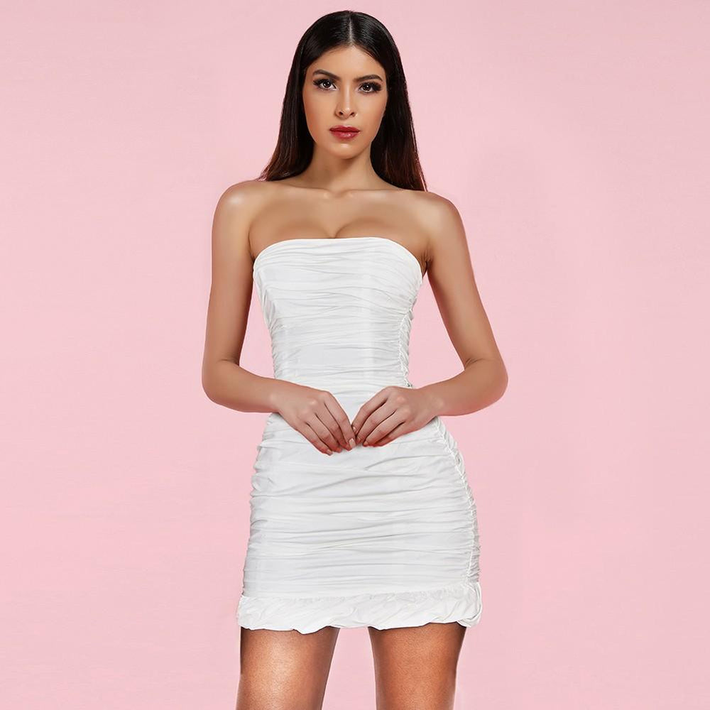 'Anevay' White Bodycon Ruffled Mini Dress - Shop Secret Showroom