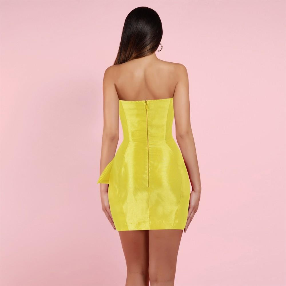 'Augustina' Yellow Satin Strapless Dress - Shop Secret Showroom
