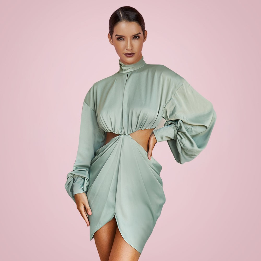 'Corinne' Pistachio Draped Cut Out Mini Dress