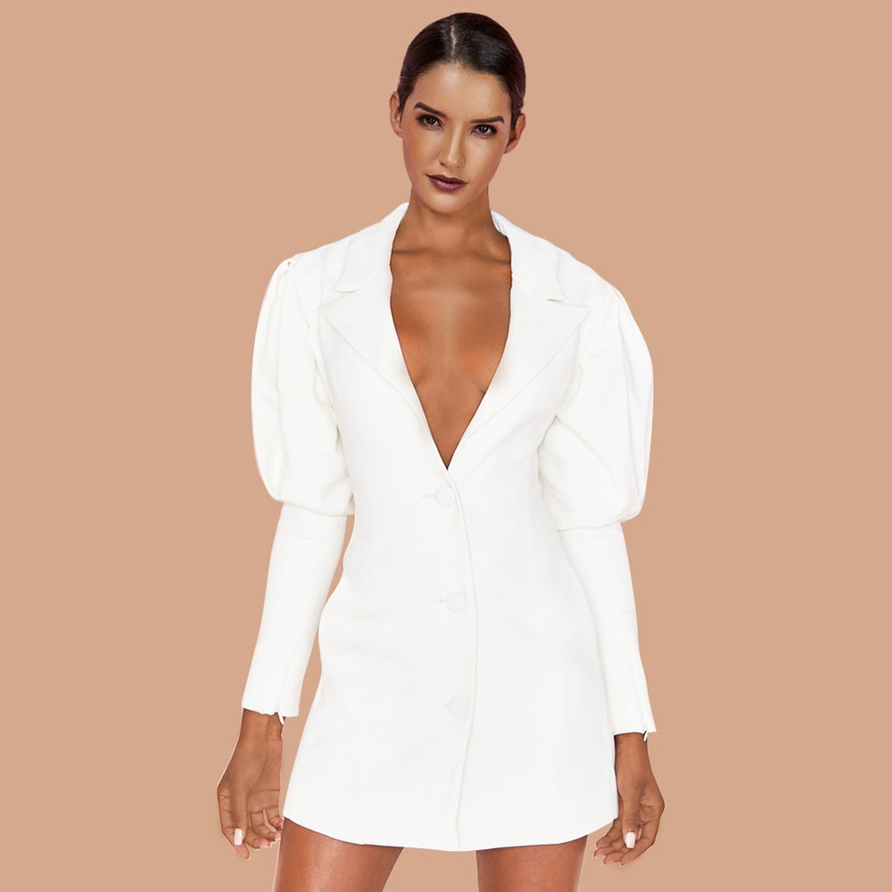 'Isa' White Puff Sleeve Blazer Mini Dress