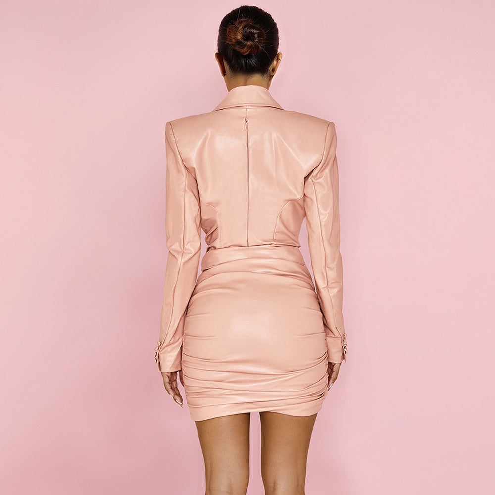 'Frederica' Blush Stretch Vegan Leather Dress