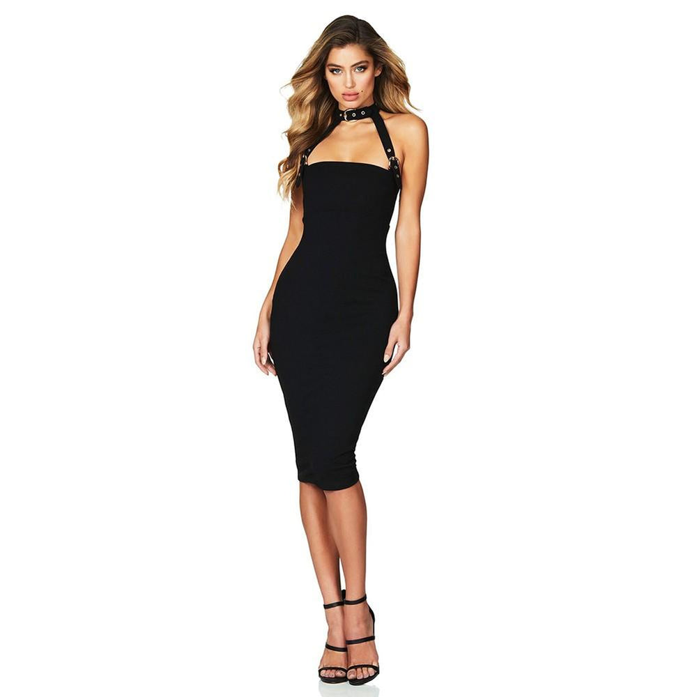 'Dounia' Black Bandage Dress - Shop Secret Showroom