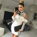 'Lilian' White Ruffle Fishnet Bandage Dress - Shop Secret Showroom