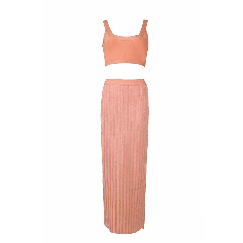 'Basma' Neon Peach Cropped Top + Maxi Skirt - Shop Secret Showroom