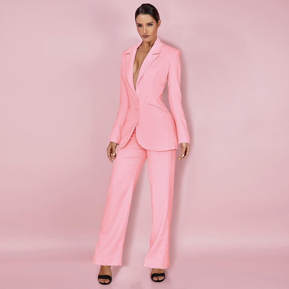 'Carissa' Soft Pink Bodycon Two Piece Suit - Shop Secret Showroom