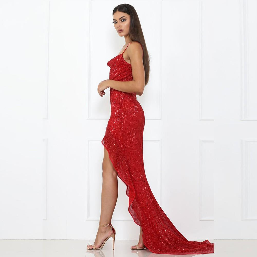'Tattooed Heart' Red Strapy Asymmetrical Maxi Dress
