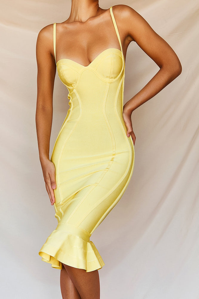 'Martinique' Lemon Fluted Bustier Bandage Dress