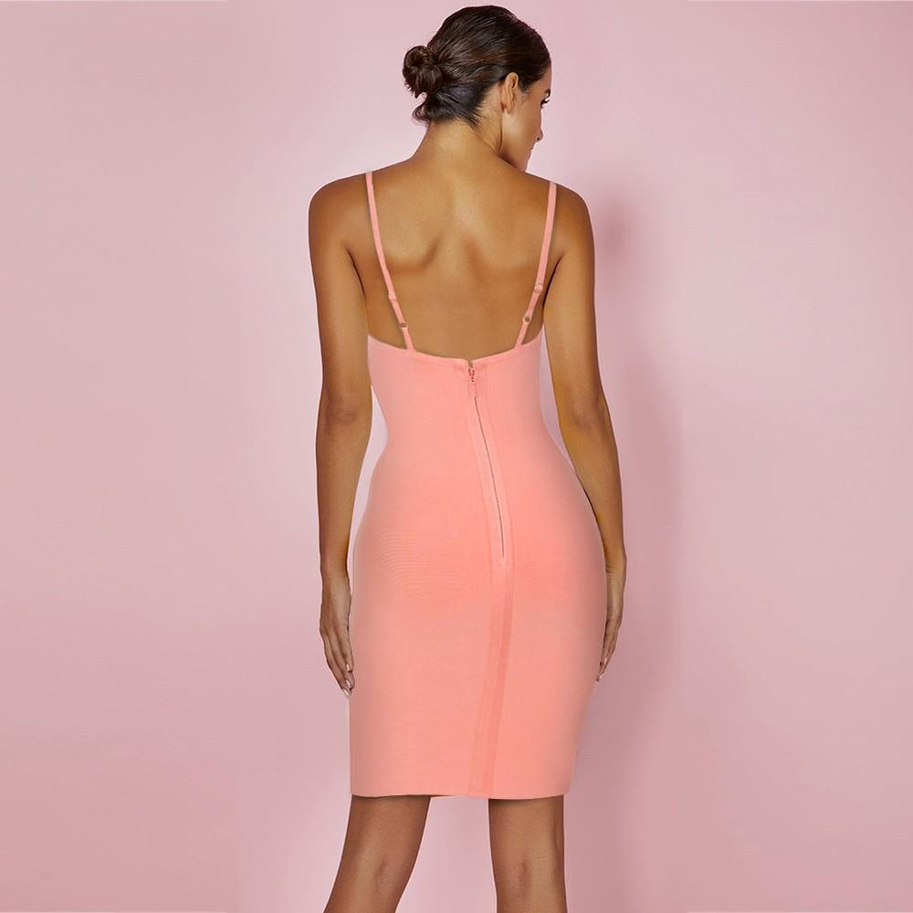 'Still Not Over You' Pink Low Plunge Bandage Dress