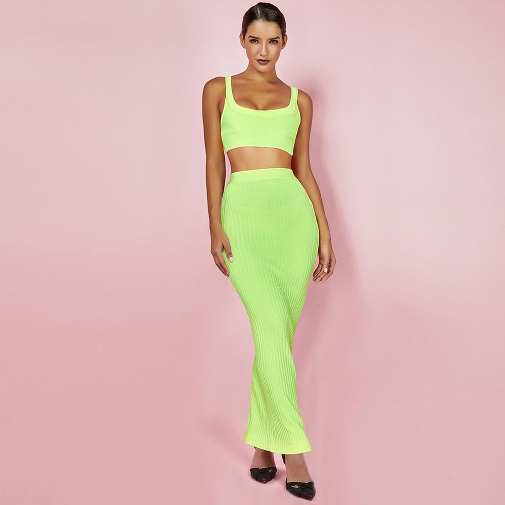 'Basma' Neon Green Cropped Top + Maxi Skirt - Shop Secret Showroom