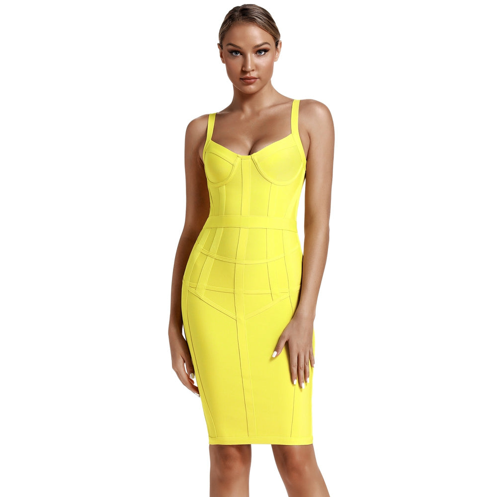 'Rosealba' Lemon Bustier Bandage Dress