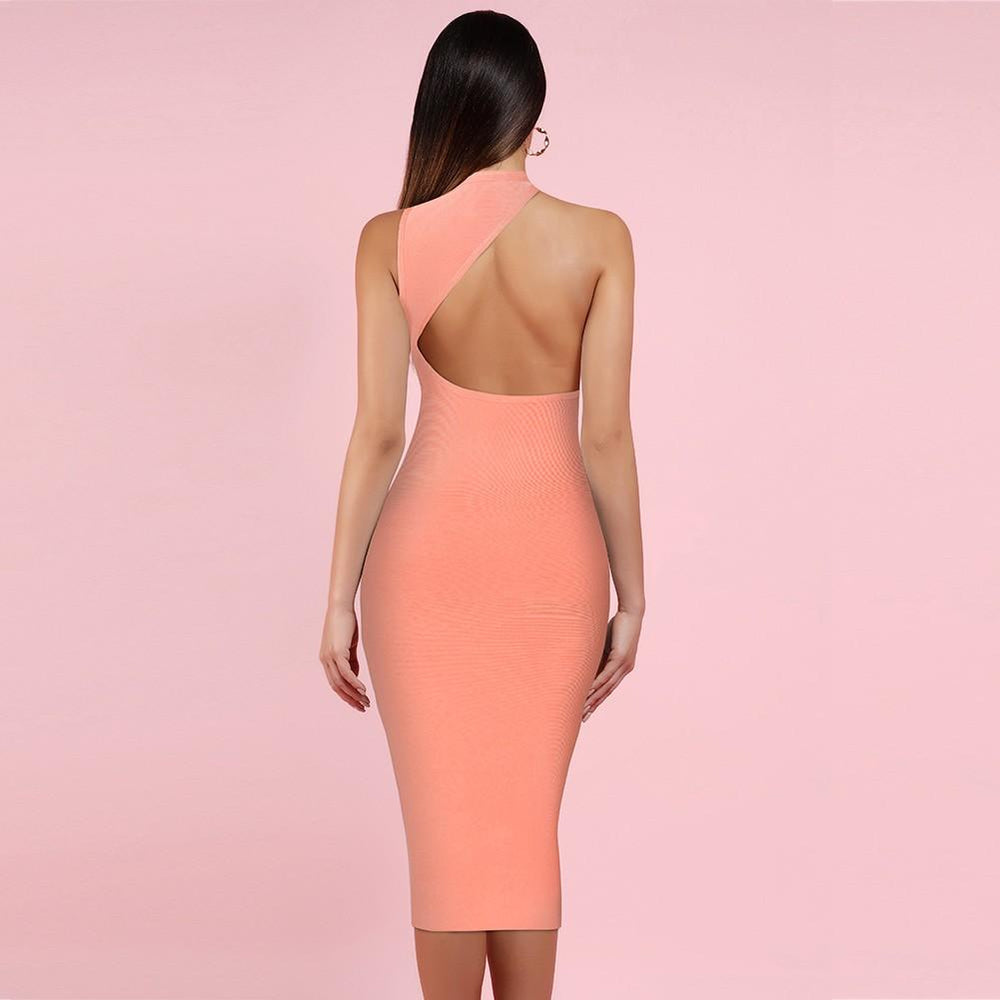 'Raquel' Peach Asymmetric Bandage Dress