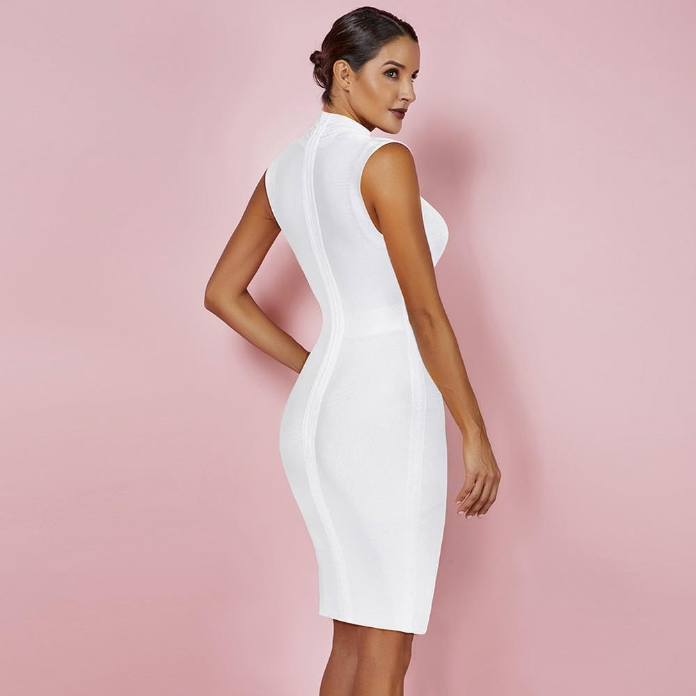 'Avra' White Sleeveless Draped Bandage Dress - Shop Secret Showroom