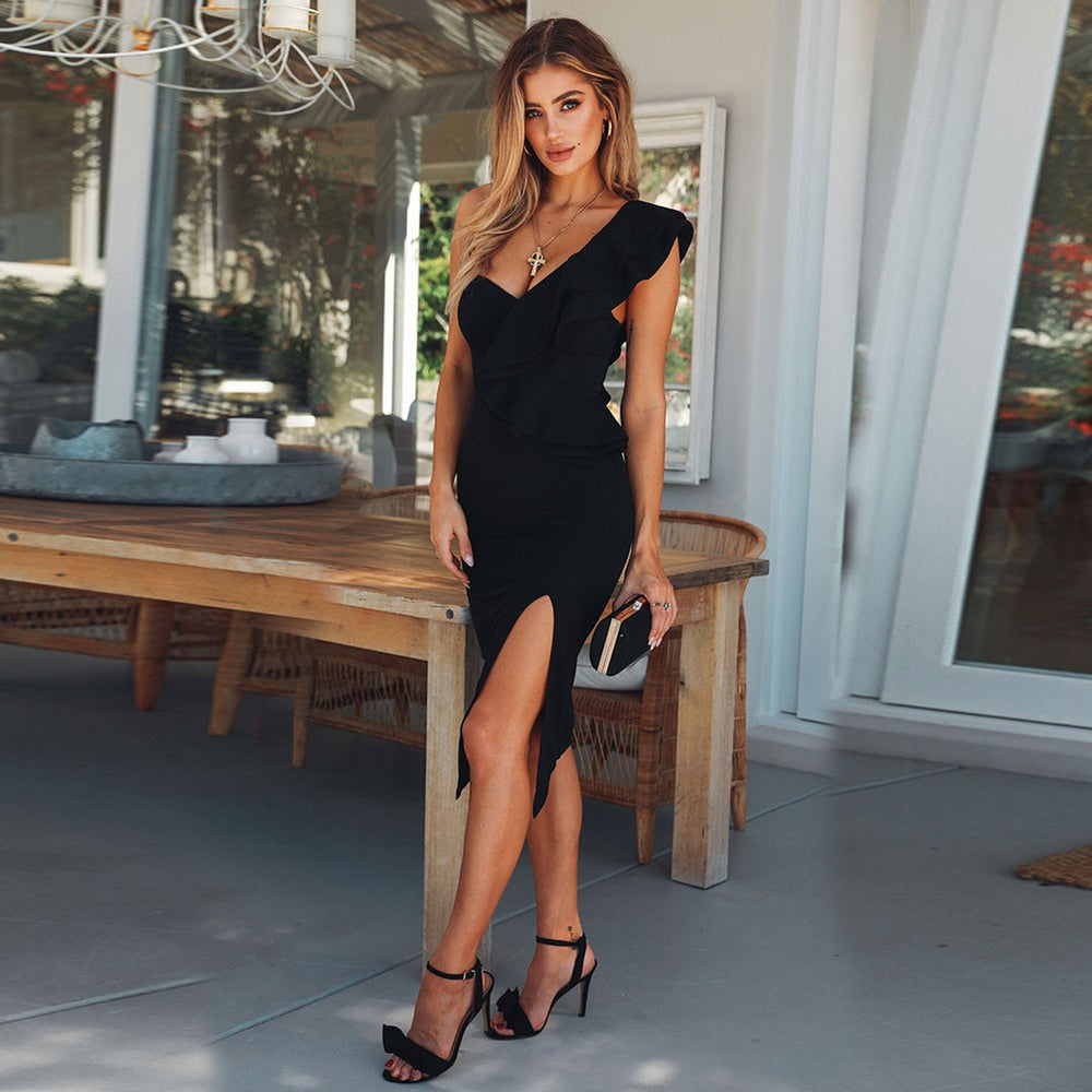 'Marianna' Black One Shoulder Ruffle Bandage Dress